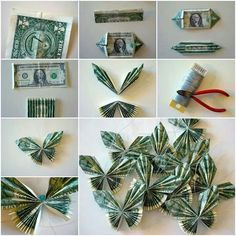 Are you good at origami? Even if not, this tutorial could have you folding money into butterflies in no time. How fun would this be to get under your pillow? Origami Money Flowers, Money Origami, Diy Money Lei, Origami Art, How To Make Butterfly, Monarch Butterfly, Money Rose, Money Bouquet, Creative Money Gifts