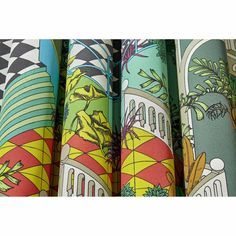Cole & Son Miami Cotton Olive Green Multi curtain and upholstery fabric available from our online fabric shop. Miami Beach House, Contemporary Fabric, Cole And Son, Color Box, Fabulous Fabrics, Art Deco Design, Wow Products, Fabric Samples, Soft Furnishings