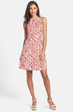 Eliza J Print Cutaway Bodice Stretch Cotton Fit & Flare Dress (Petite)