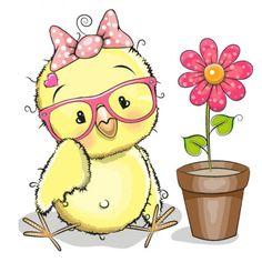 Greeting card cute cartoon Chicken with flower Share Pictures, Cute Pictures, Cartoon Chicken, Animated Gifs, Cartoon Flowers, Baby Chickens, Dibujos Cute, Cute Clipart, Cute Birds