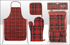 Scottish Royal Stewart Oven Mitt Pot Holder & Apron Set Great For BBQ NEW