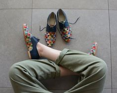Bunte Schuhe Leder-Schuhe-Oxford flache Schuhe-Damen Schuhe