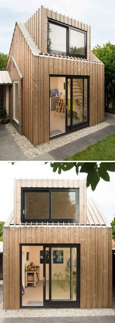 Architecture firm Open Kaart worked together with their clients to transform and old shed into a private and modern painting studio in the backyard of their house in Woerden, The Netherlands. Backyard Office, Backyard House, Backyard Sheds, Cabin Plans, Shed Plans, Patio Design, House Design, Studios Architecture, Small Cottages