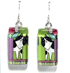 Cat Earrings/ Tuxedo Kitty on Spring by SusanFayePetProjects, $18.00