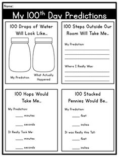 100th Day of School: FREE Math & Literacy... by Catherine Reed - The Brown Bag Teacher | Teachers Pay Teachers