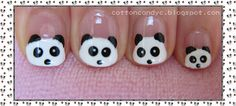 Panda Nail Art (For Short Nails) This works great for tiny little girl nails! I believe I'll do this for Serenity at some point! Trendy Nail Art, Cute Nail Art, Easy Nail Art, Cute Nails, Girls Nail Designs, French Nail Designs, Cute Nail Designs, Panda Nail Art, Animal Nail Art