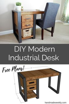 Vintage Industrial Decor DIY Modern Industrial Desk - Free woodworking build plans for a modern industrial desk. It combines the perfect mix of wood and faux metal that is perfect for any space. Industrial Interior Design, Industrial Desk, Vintage Industrial Furniture, Industrial Interiors, Rustic Furniture, Home Interior Design, Modern Furniture, Industrial Farmhouse, Office Furniture