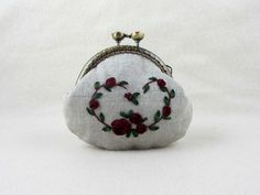 Red ribbon embroidered purse, embroidered linen coin purse, red roses, linen coin pouch, hand embroidered roses by JRsbags on Etsy