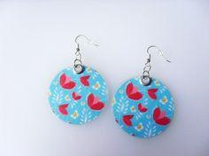 301 - Boucles d'oreilles rondes fleurs - bleu ciel, rose