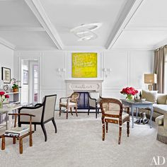 An Andrew Bick painting serves as the focal point of this Westchester living room | archdigest.com