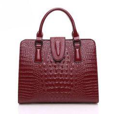 Real Leather Vintage Alligator Skin Handbag Shoulder Bag