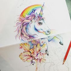 Unicorn Drawing, Unicorn Tattoos, Tattoo On, Mystic, Drawings, Art, Unicorns, Art Background, Kunst