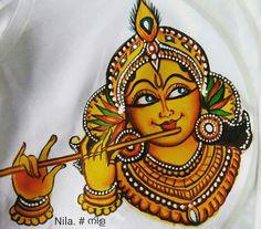 Kalamkari Painting, Krishna Painting, Madhubani Painting, Krishna Art, Krishna Drawing, Radhe Krishna, Saree Painting Designs, Fabric Paint Designs, Kerala Mural Painting