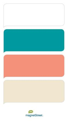 White, Teal, Coral, and Champagne Wedding Color Palette - custom color palette created at MagnetStreet.com
