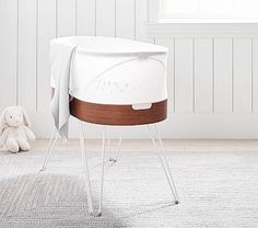 Auto-rocking, white-noise-playing bassinets soothe babies off to sleep and save parents some winks, too. (Searches for smart bassinets +851%)