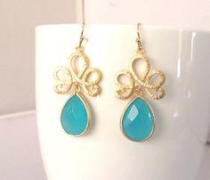 Ocean Blue Synthetic Stone Summer  Earrings Drop by LaLaCrystal, $28.50