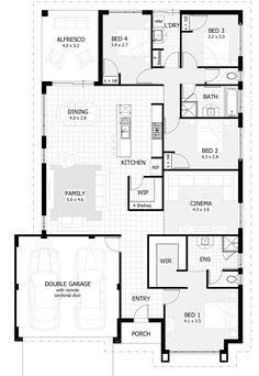 Australia house plans single story for single story house plans australia house design plans Home Design, Single Floor House Design, Modern House Floor Plans, Farmhouse Floor Plans, Contemporary House Plans, Modern Contemporary, Modern Farmhouse, Four Bedroom House Plans, 4 Bedroom House Designs