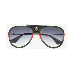 Gucci Eyewear Gg0062S Aviator Sunglasses With Leather (584,620 KRW) ❤ liked  on Polyvore featuring men s fashion, men s accessories, men s eyewear, ... 50aeb19dd0