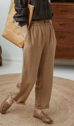 Italian Spring Women Trousers Elastic Waist Khaki Pockets Casual Pants Patterned Pants Outfit, Loose Pants Outfit, Trousers Women Outfit, Linen Pants Women, Pants For Women, Casual Pants, Neutral Trousers, Elastic Waist, Palazzo