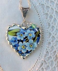Broken China Forget Me Not Pendant Beads Jewelry, Soldering Jewelry, Jewelery, Flower Jewelry, Forget Me Not Blue, Broken China Jewelry, Porcelain Jewelry, Porcelain Ceramics, Heart Pendant Necklace