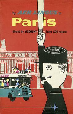 Aer Lingus Poster / Paris / ca. 1956