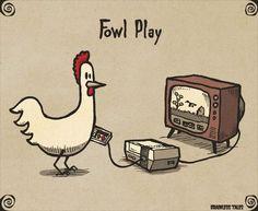 """ Fowl Play "" > punny humor > puns > chicken gamer > funny > play on words Punny Puns, Puns Jokes, Cute Puns, Dad Jokes, Funny Cute, Hilarious, Memes, Chicken Jokes, Visual Puns"