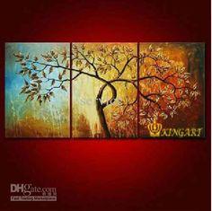 Wholesale Hand-Painted Artwork Lift Tree Oil-Paintings On Canvas