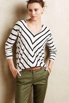 stripes & olive pants #anthropologie