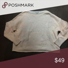 MADEWELL - cozy oversized sweater Peach colored striped oversized sweater -- great condition reflected in price Madewell Sweaters Crew & Scoop Necks