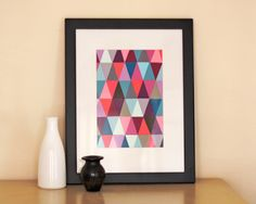 Geometric paint chip wall art