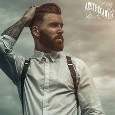 Levi Stocke - full thick dark red beard and mustache beards bearded man men mens' style dapper fashion suspenders vintage tattoos tattooed bearding auburn redhead ginger