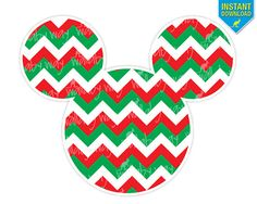 Mickey Head Christmas Chevron 3 Printable Iron On Transfer or Use as Clipart by TheWallabyWay - DIY Disney Christmas Shirt - Perfect for Mickey's Very Merry Christmas Party - PNG File included!