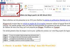 Blog Optim Office: Comment profiter des fonctionnalités de MS Word 2013 dans vos activités de blogging - Cet article présente les étapes à suivre pour  publier du contenu sur votre blog à partir du logiciel de traitement de texte de la suite Microsoft Office 2013.