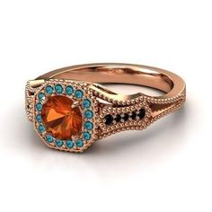 Melissa Ring Round Fire Opal 14K Rose Gold Ring with London Blue Topaz & Black Onyx