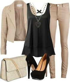 Work attire - skinny khaki pants w black loose top and brown blazer Komplette Outfits, Casual Outfits, Fashion Outfits, Womens Fashion, Fashion Trends, Casual Wear, Simple Outfits, Ladies Fashion, Fashion Ideas