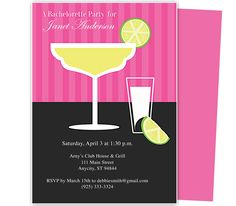 Printable DIY Bachelorette Party Invitations : Citrus Design Bachelorette Party Invitation Template for WORD, Publisher, OpenOffice, and Apple iWork Pages. Download, edit, print.