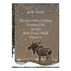 Shop Moose in Snow Invitation created by dianegaddis. Personalize it with photos & text or purchase as is! Christmas Photo Cards, Christmas Photos, Christmas Time, Holiday Cards, Christmas Gifts, Xmas, Cookie Exchange, Invitation Paper, Custom Invitations