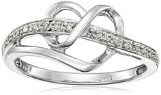 $33.77 Sterling Silver Diamond Heart Ring (1/20 cttw), Size 8 - http://freebiefresh.com/sterling-silver-diamond-heart-ring-120-review/