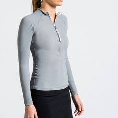 by Calm Collected Blue Colour Palette, Gray Color, Crew Clothing, Rash Guard, Grey, Long Sleeve, Swimwear, Jackets, Clothes