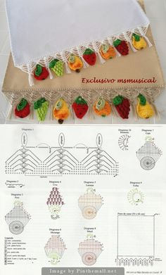 """Charming #Crochet #edging with fruit!"