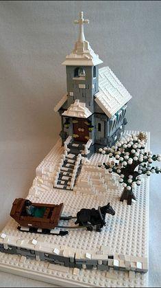 Hi everybody! I would like to show you my latest MOC, a Christmas Church. Untitled by Heksu, on Flickr Untitled by Heksu, on Flickr I´m proud of those snowy... Lego Christmas Village, Lego Winter Village, Lego Design, Lego Gingerbread House, Casa Lego, Box Container, Amazing Lego Creations, Lego Construction, Lego For Kids