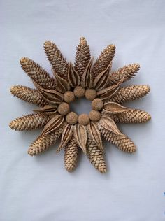 Frosty Golden Pine Cone Wreath Holidays or Winter. $38.50, via Etsy.