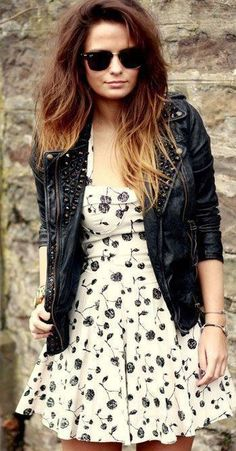 Floral dress with leather jacket-overkill with the details on the collar and such, but love the idea