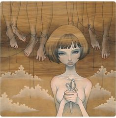 Odri (Audrey) Kawasaki (Japanese-American Los Angeles, CA) Audrey Kawasaki, Robert Mcginnis, Transformers Art, Art And Illustration, Art Pulp Fiction, Pulp Art, Crane Dance, Grammy Museum, Lowbrow Art