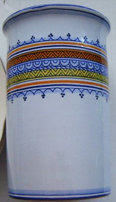 Boschi Faience Beautiful Vase With Blues Orange by parkledge, $45.00