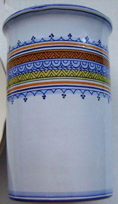Boschi Faience Beautiful Vase With Blues Orange by parkledge, $45.00