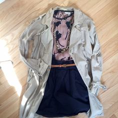 Loft Floral Loose Fit Blouse EUC Loft mauve and navy floral blouse. Beautiful fit. Is a Medium Petite but fit like a Small. Loop button closure at sleeves and back of neck.   STYLED with:  Staring at Stars Belted Trench Coat M  -  Lands End Canvas Navy Cotton Skirt  4 -  Beaded Gold Necklace  -  Brown Skinny Belt  (comment for additional styled item purchasing info ✨) LOFT Tops Blouses