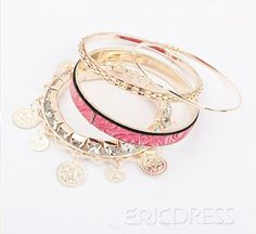 Fantastic Pink Wood Grain Pattern Lady's Fashion Alloy Bracelets Set Fashion Bracelets- ericdress.com 10501258