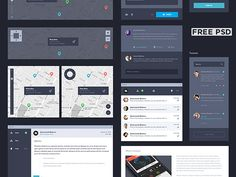 Dark UI kit - PSD by