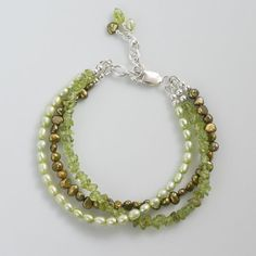 multi strand peridot pearl bracelet green by CretanHareCreations More